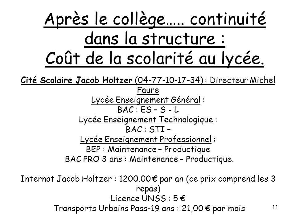 11 Cité Scolaire Jacob Holtzer (04-77-10-17-34) : Directeur Michel Faure Lycée Enseignement Général : BAC : ES – S - L Lycée Enseignement Technologiqu