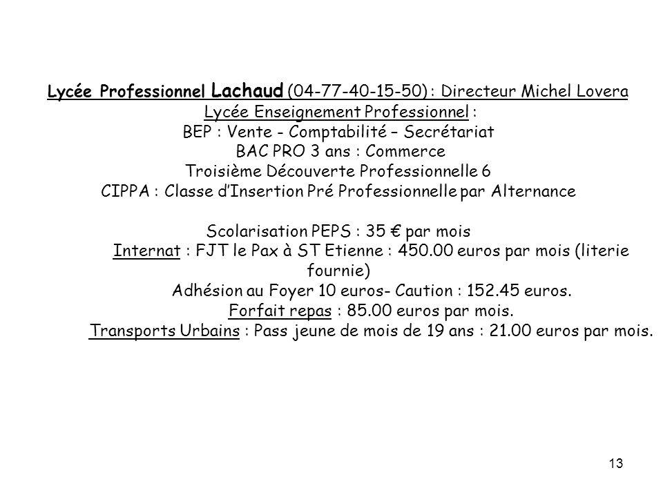 13 Lycée Professionnel Lachaud (04-77-40-15-50) : Directeur Michel Lovera Lycée Enseignement Professionnel : BEP : Vente - Comptabilité – Secrétariat