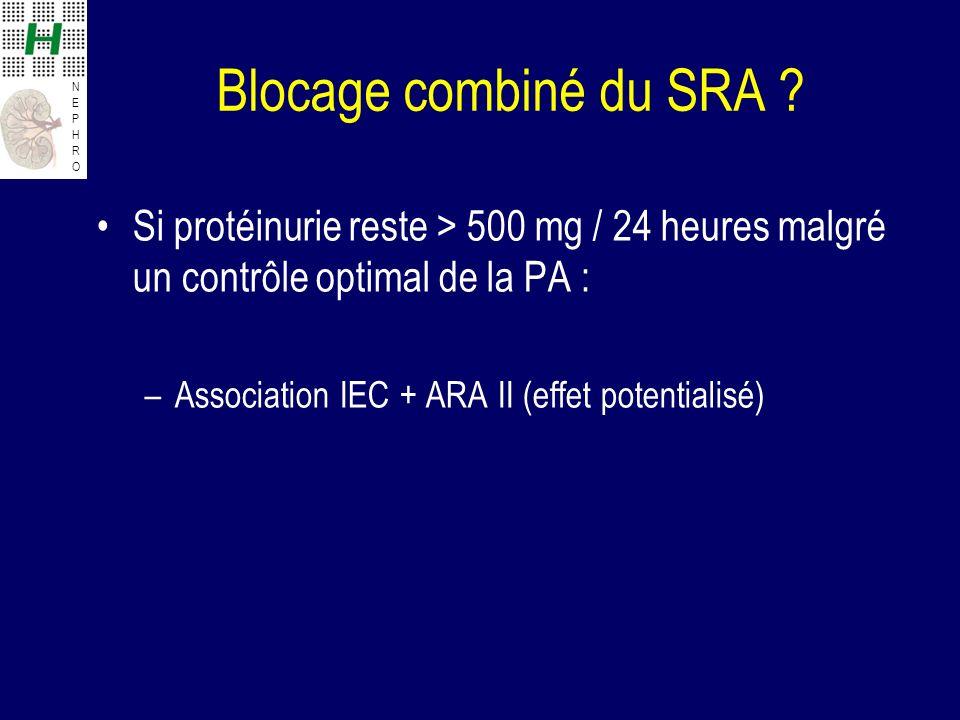 NEPHRONEPHRO Blocage combiné du SRA ? Si protéinurie reste > 500 mg / 24 heures malgré un contrôle optimal de la PA : –Association IEC + ARA II (effet