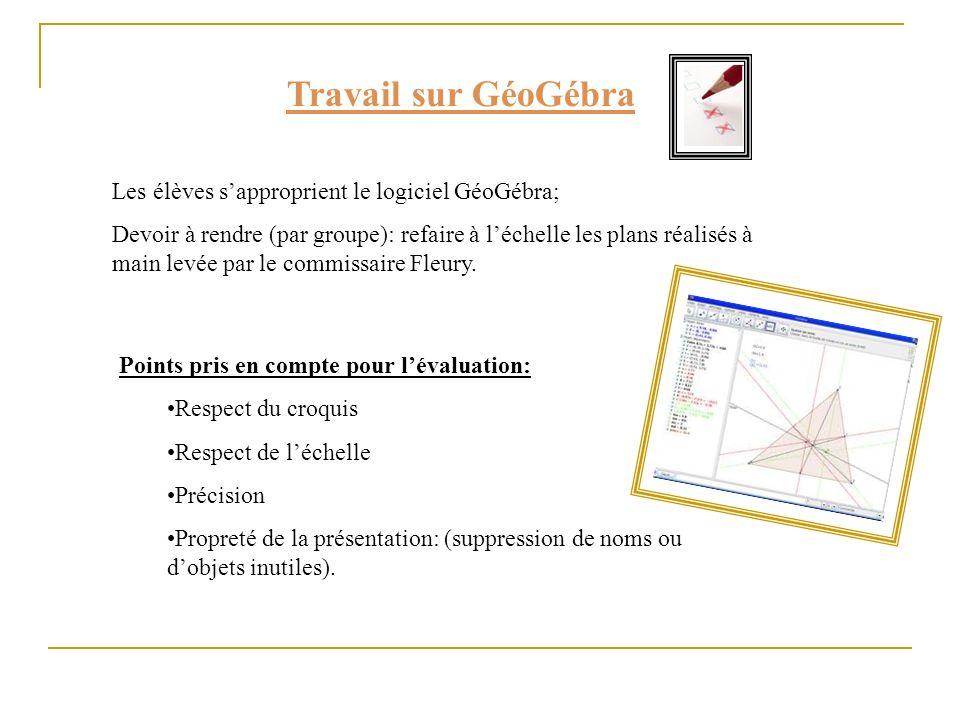 Travail sur GéoGébra Les élèves sapproprient le logiciel GéoGébra; Devoir à rendre (par groupe): refaire à léchelle les plans réalisés à main levée pa