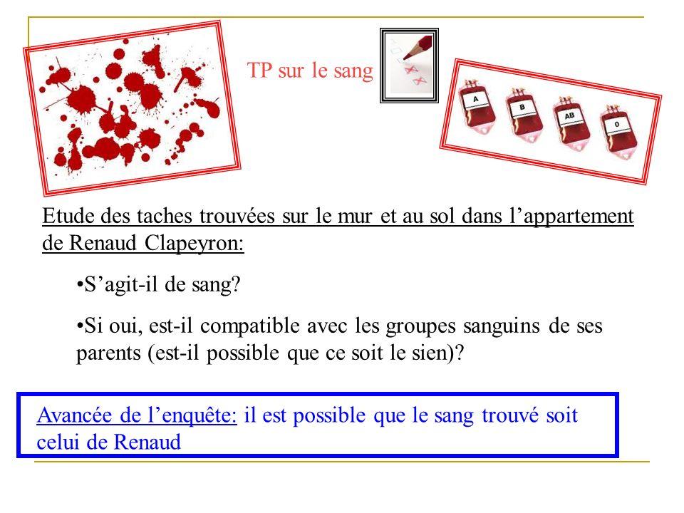 TP sur le sang Etude des taches trouvées sur le mur et au sol dans lappartement de Renaud Clapeyron: Sagit-il de sang? Si oui, est-il compatible avec