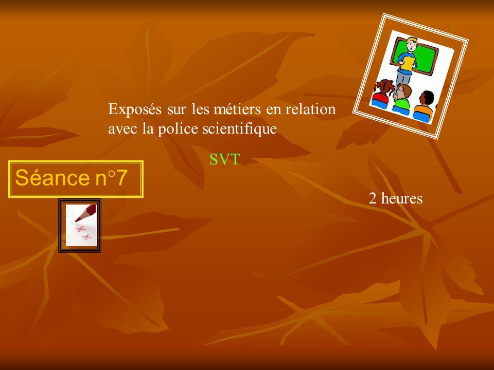 Séance n°7 Exposés sur les métiers en relation avec la police scientifique 2 heures SVT