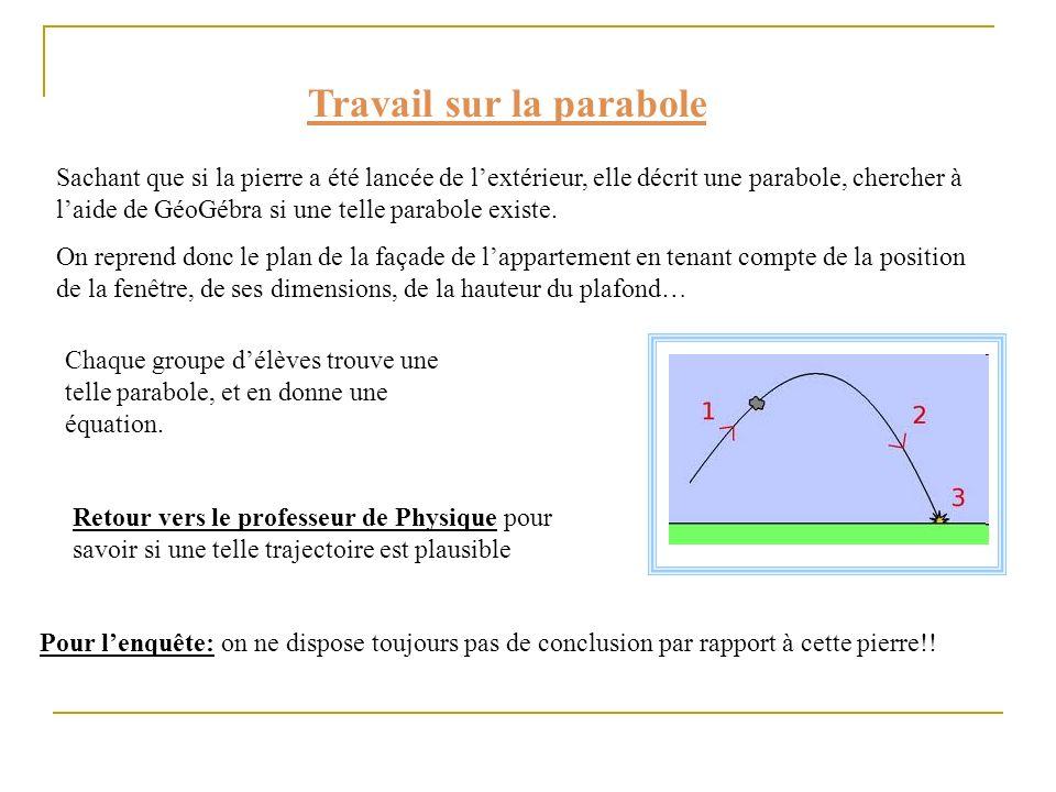 Travail sur la parabole Sachant que si la pierre a été lancée de lextérieur, elle décrit une parabole, chercher à laide de GéoGébra si une telle parab