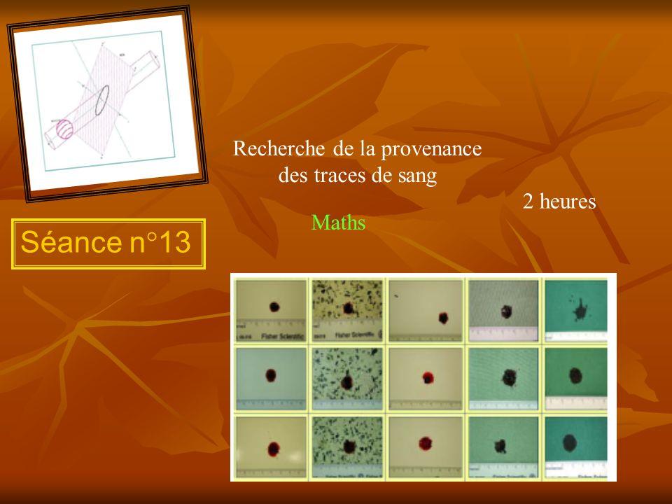 Séance n°13 Recherche de la provenance des traces de sang 2 heures Maths