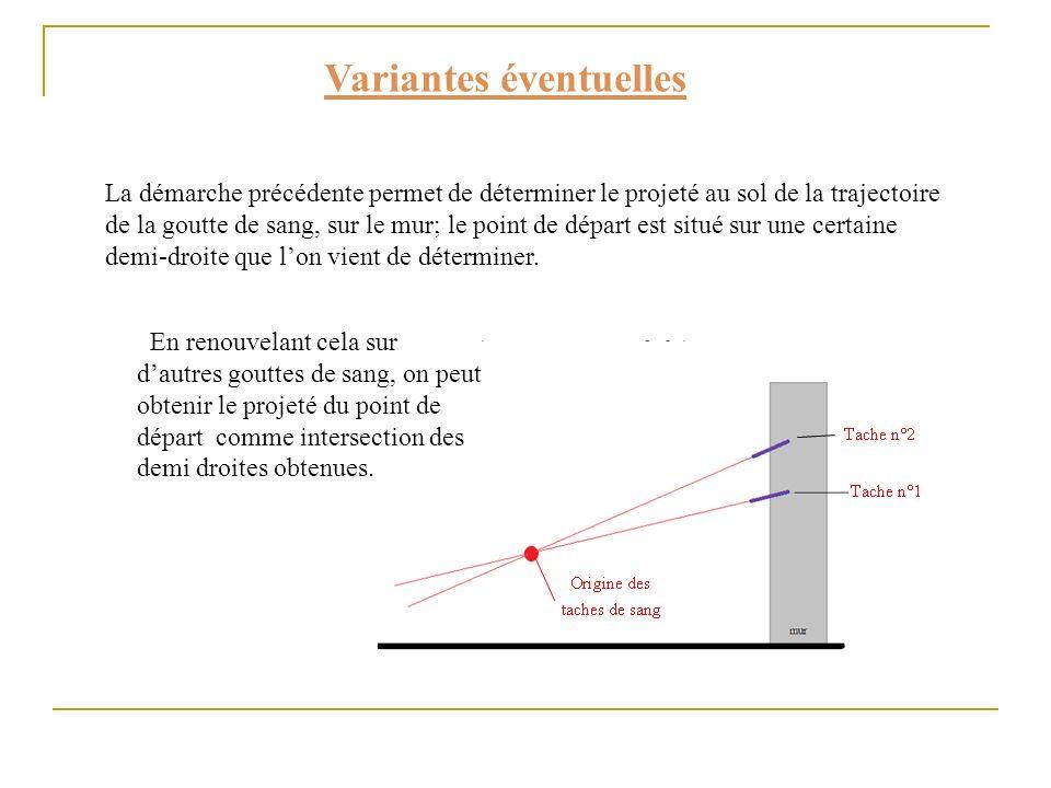 Variantes éventuelles La démarche précédente permet de déterminer le projeté au sol de la trajectoire de la goutte de sang, sur le mur; le point de dé
