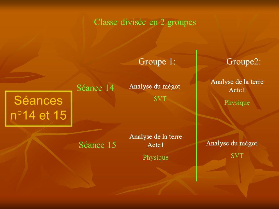 Séances n°14 et 15 Classe divisée en 2 groupes Groupe 1:Groupe2: Séance 14 Séance 15 Analyse du mégot SVT Analyse de la terre Acte1 Physique Analyse d
