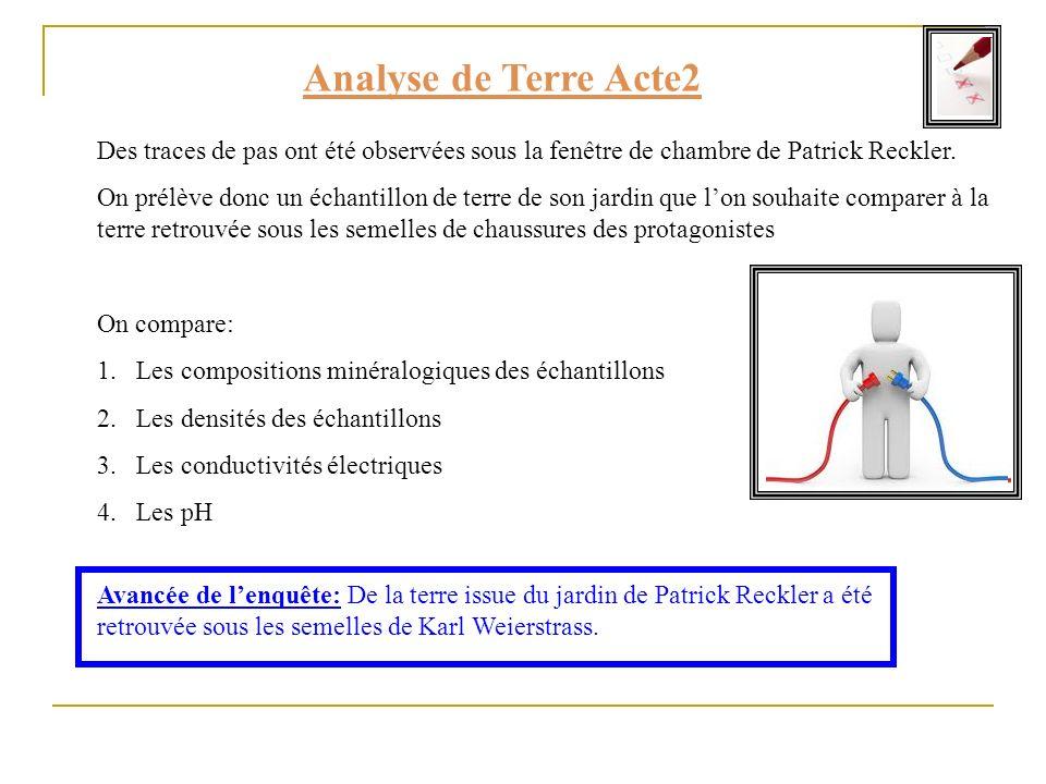 Analyse de Terre Acte2 Des traces de pas ont été observées sous la fenêtre de chambre de Patrick Reckler. On prélève donc un échantillon de terre de s