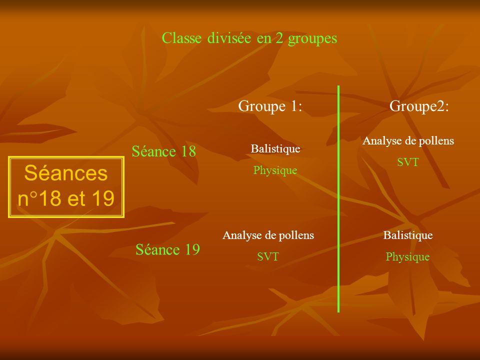 Séances n°18 et 19 Classe divisée en 2 groupes Groupe 1:Groupe2: Séance 18 Séance 19 Balistique Physique Analyse de pollens SVT Balistique Physique An