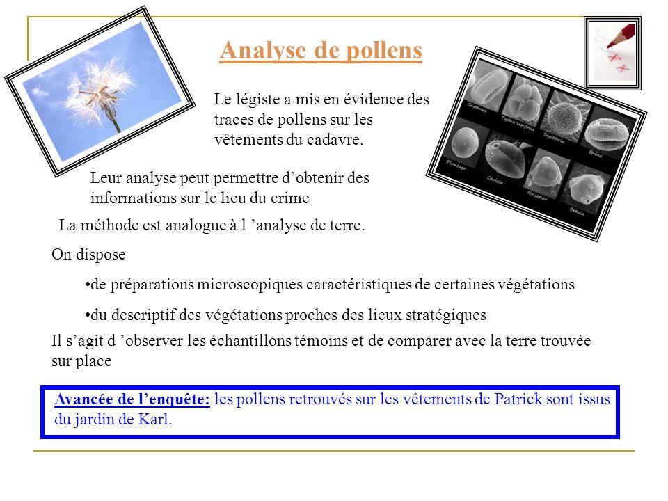 Analyse de pollens Le légiste a mis en évidence des traces de pollens sur les vêtements du cadavre. La méthode est analogue à l analyse de terre. On d
