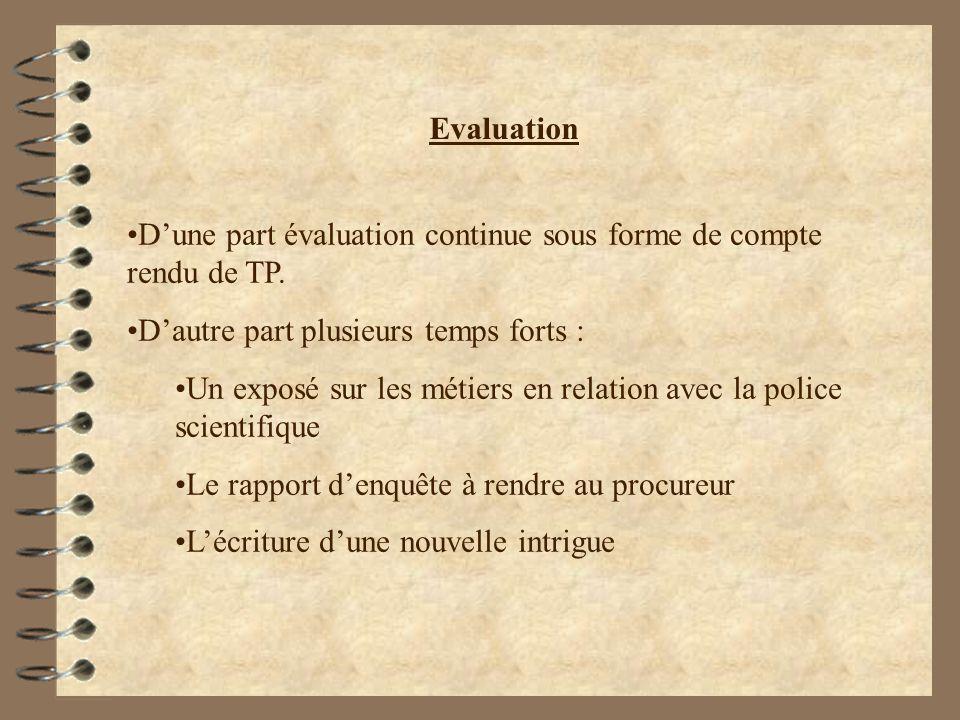 Evaluation Dune part évaluation continue sous forme de compte rendu de TP. Dautre part plusieurs temps forts : Un exposé sur les métiers en relation a