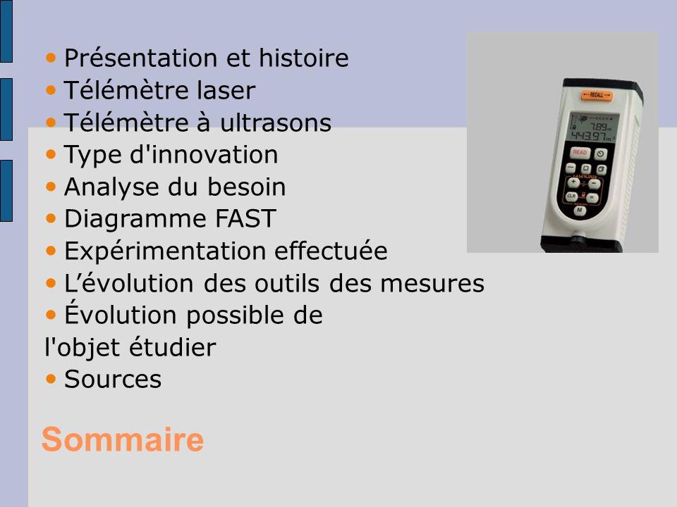 Sommaire Présentation et histoire Télémètre laser Télémètre à ultrasons Type d'innovation Analyse du besoin Diagramme FAST Expérimentation effectuée L