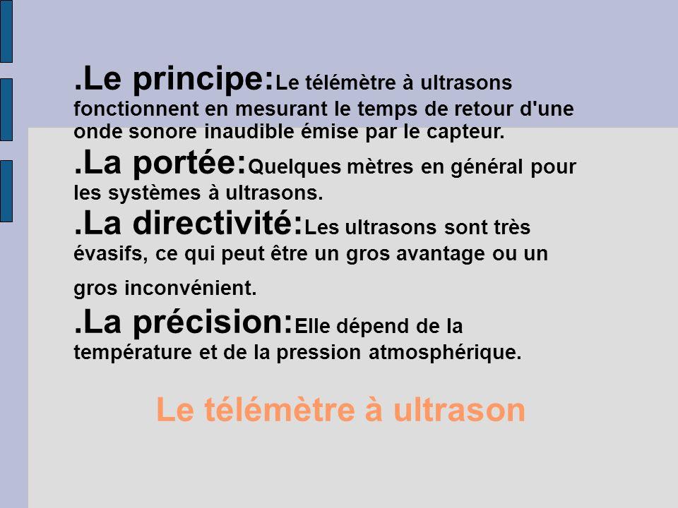 Le télémètre à ultrason.Le principe: Le télémètre à ultrasons fonctionnent en mesurant le temps de retour d'une onde sonore inaudible émise par le cap