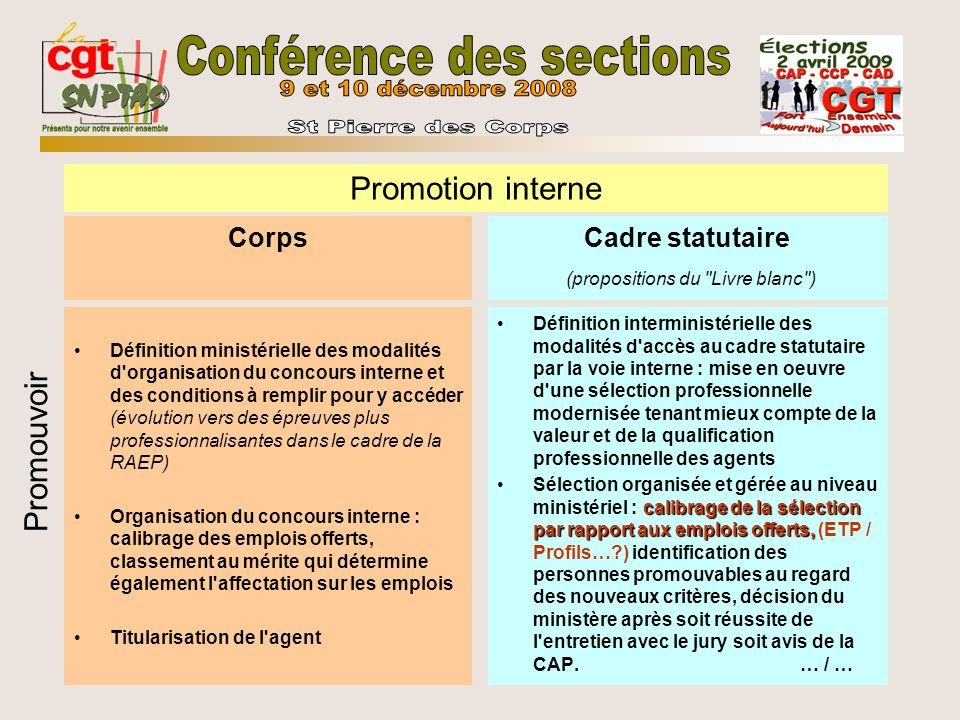Corps Définition ministérielle des modalités d'organisation du concours interne et des conditions à remplir pour y accéder (évolution vers des épreuve