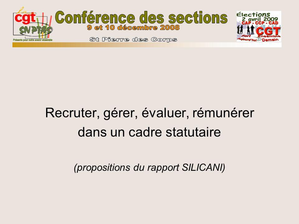 Recruter, gérer, évaluer, rémunérer dans un cadre statutaire (propositions du rapport SILICANI)