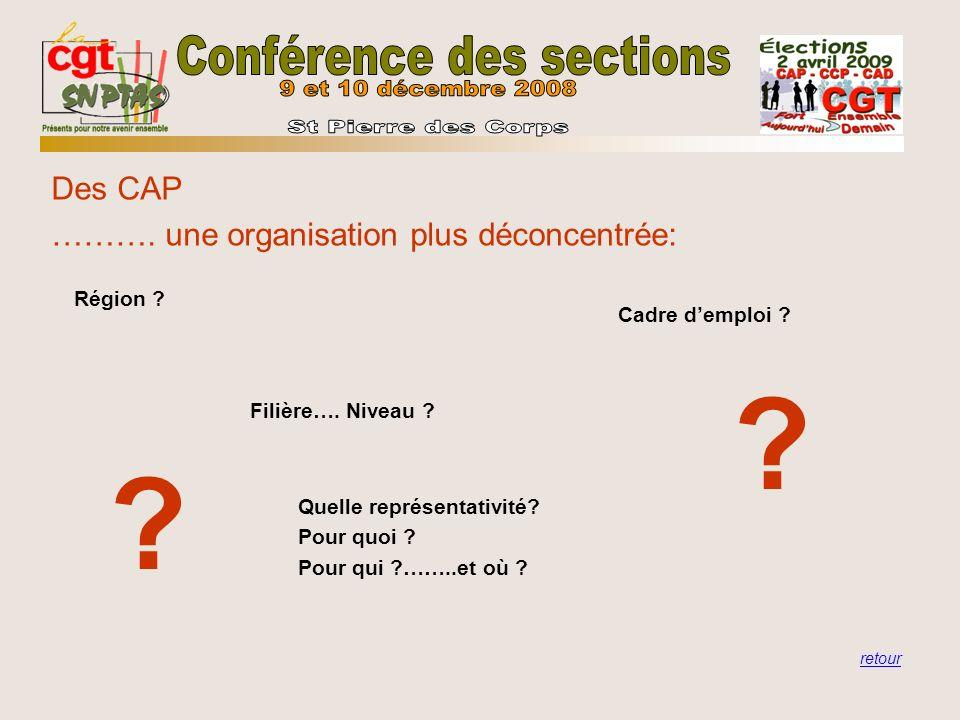 Des CAP ………. une organisation plus déconcentrée: retour Région ? Filière…. Niveau ? Cadre demploi ? Quelle représentativité? Pour quoi ? Pour qui ?…….