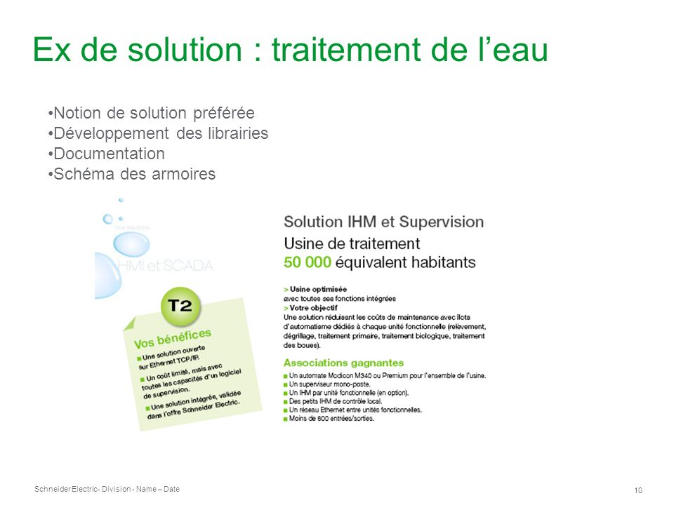 Schneider Electric 11 - Division - Name – Date Ex de solution : traitement de leau