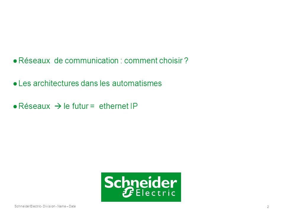 Schneider Electric 2 - Division - Name – Date Réseaux de communication : comment choisir ? Les architectures dans les automatismes Réseaux le futur =