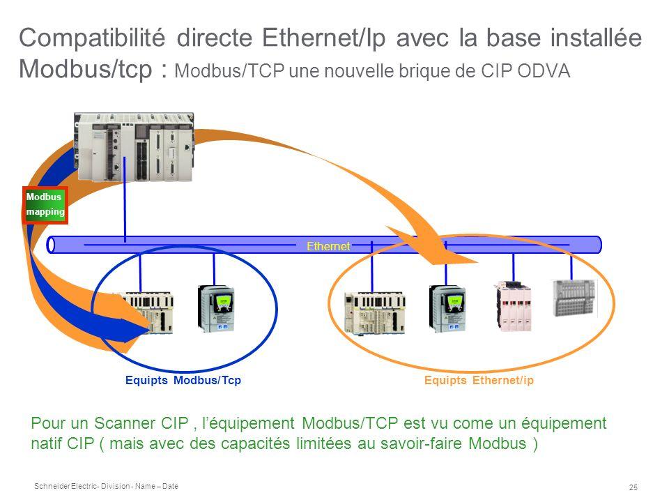 Schneider Electric 25 - Division - Name – Date Compatibilité directe Ethernet/Ip avec la base installée Modbus/tcp : Modbus/TCP une nouvelle brique de
