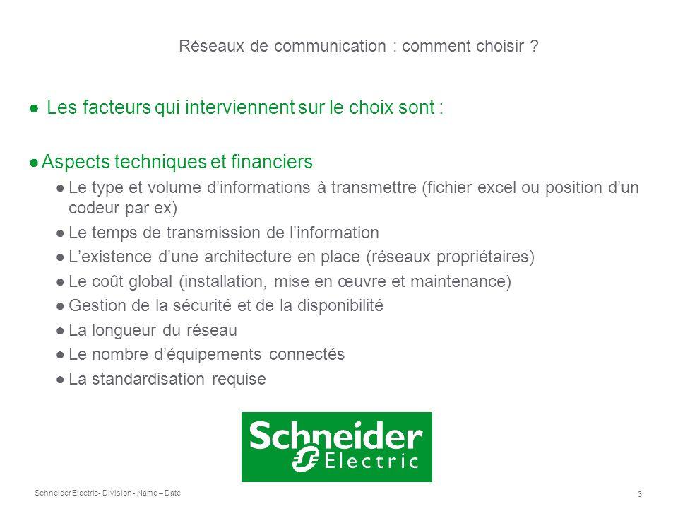 Schneider Electric 3 - Division - Name – Date Les facteurs qui interviennent sur le choix sont : Aspects techniques et financiers Le type et volume di