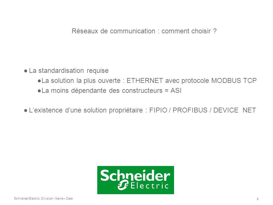 Schneider Electric 5 - Division - Name – Date La standardisation requise La solution la plus ouverte : ETHERNET avec protocole MODBUS TCP La moins dép