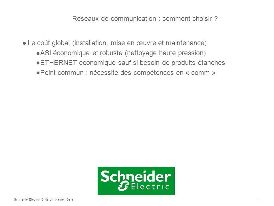 Schneider Electric 6 - Division - Name – Date Le coût global (installation, mise en œuvre et maintenance) ASI économique et robuste (nettoyage haute p
