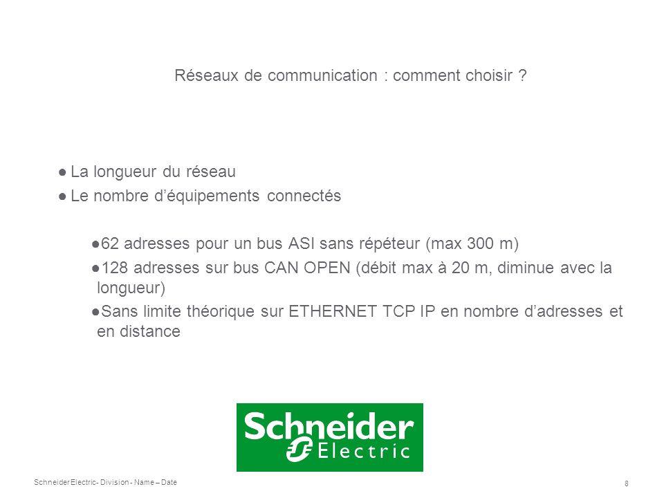 Schneider Electric 8 - Division - Name – Date La longueur du réseau Le nombre déquipements connectés 62 adresses pour un bus ASI sans répéteur (max 30
