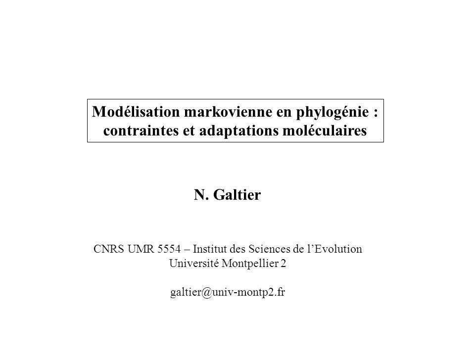Modélisation markovienne en phylogénie : contraintes et adaptations moléculaires N. Galtier CNRS UMR 5554 – Institut des Sciences de lEvolution Univer