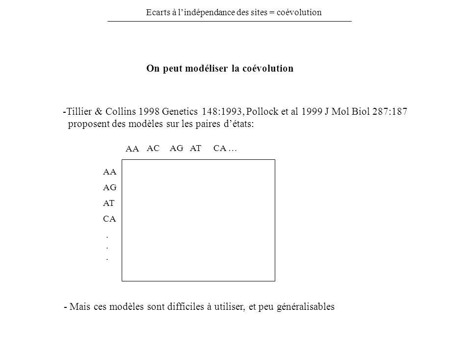 Ecarts à lindépendance des sites = coévolution On peut modéliser la coévolution -Tillier & Collins 1998 Genetics 148:1993, Pollock et al 1999 J Mol Bi