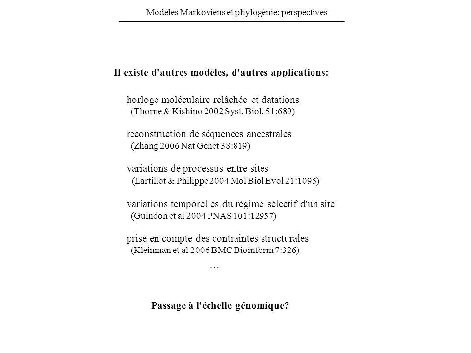 Modèles Markoviens et phylogénie: perspectives Il existe d'autres modèles, d'autres applications: reconstruction de séquences ancestrales (Zhang 2006