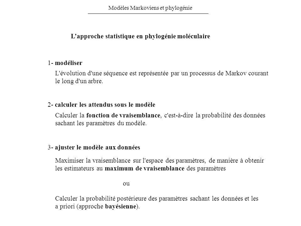 Lapproche statistique en phylogénie moléculaire 1- modéliser 2- calculer les attendus sous le modèle 3- ajuster le modèle aux données L'évolution d'un