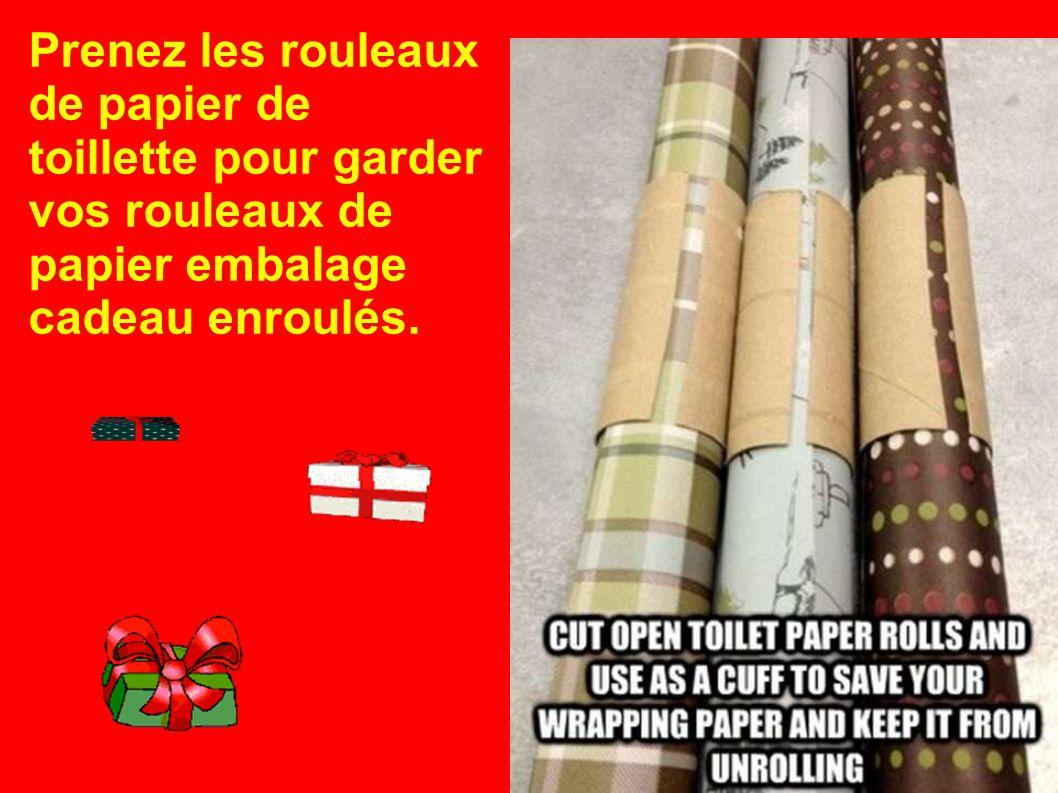 Prenez les rouleaux de papier de toillette pour garder vos rouleaux de papier embalage cadeau enroulés.