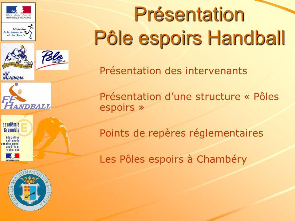 Présentation Pôle espoirs Handball Présentation des intervenants Présentation dune structure « Pôles espoirs » Points de repères réglementaires Les Pô