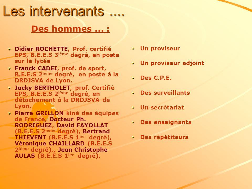 Les intervenants.... Des hommes... : Didier ROCHETTE, Prof. certifié EPS, B.E.E.S 3 ième degré, en poste sur le lycée Franck CADEI, prof. de sport, B.