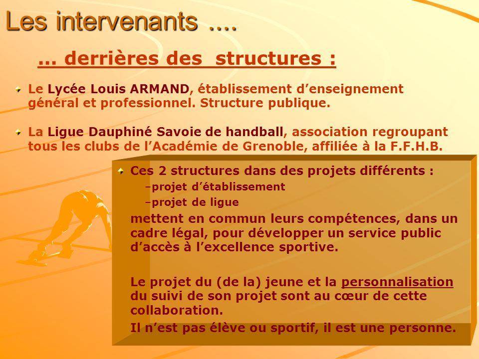 Les intervenants....... derrières des structures : Le Lycée Louis ARMAND, établissement denseignement général et professionnel. Structure publique. La