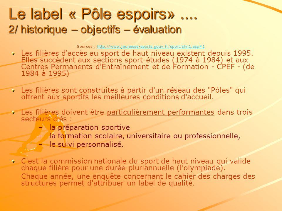 Le label « Pôle espoirs».... 2/ historique – objectifs – évaluation Sources : http://www.jeunesse-sports.gouv.fr/sport/shn1.asp#1http://www.jeunesse-s