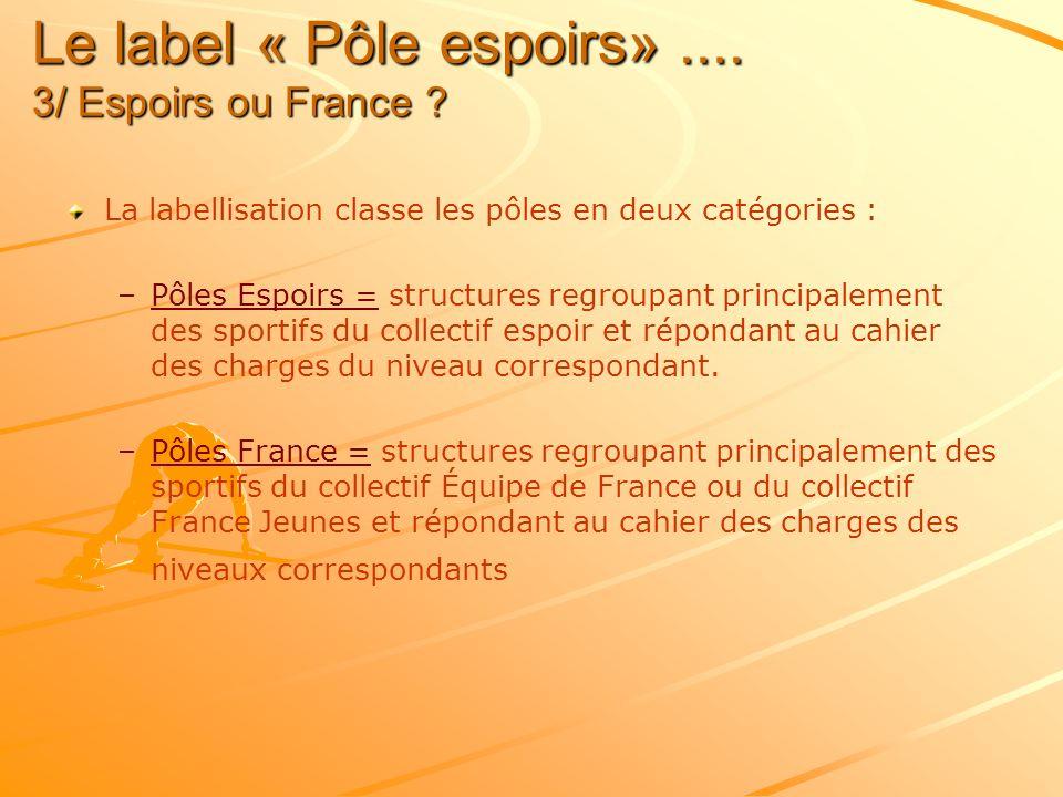 Le label « Pôle espoirs».... 3/ Espoirs ou France ? La labellisation classe les pôles en deux catégories : – –Pôles Espoirs = structures regroupant pr