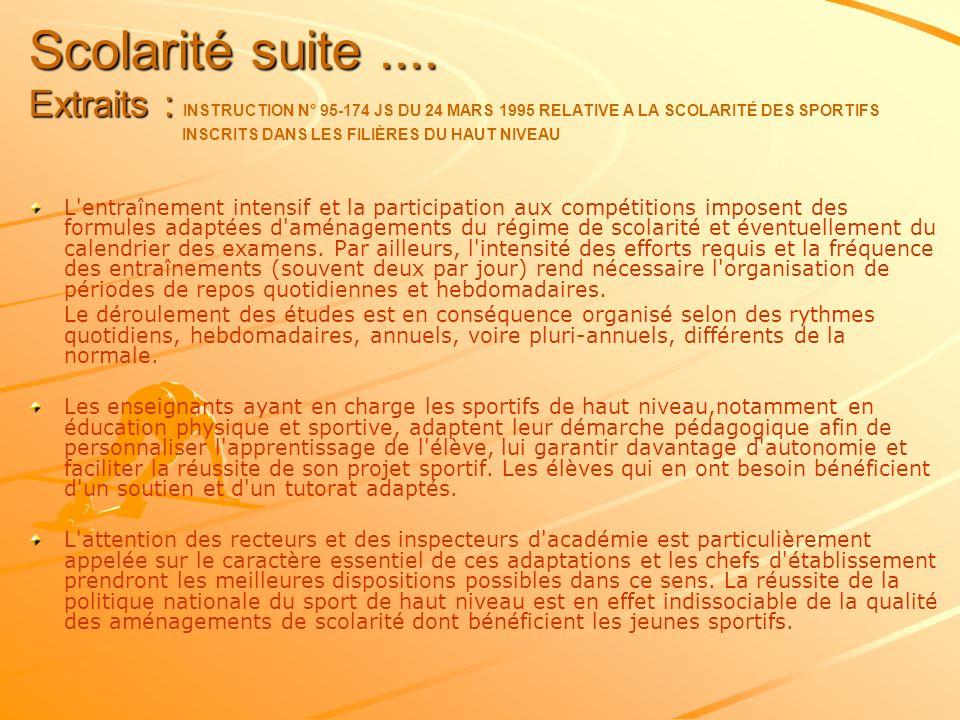 Scolarité suite.... Extraits : Scolarité suite.... Extraits : INSTRUCTION N° 95-174 JS DU 24 MARS 1995 RELATIVE A LA SCOLARITÉ DES SPORTIFS INSCRITS D