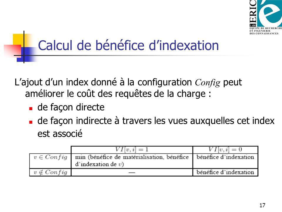 17 Calcul de bénéfice dindexation Lajout dun index donné à la configuration Config peut améliorer le coût des requêtes de la charge : de façon directe