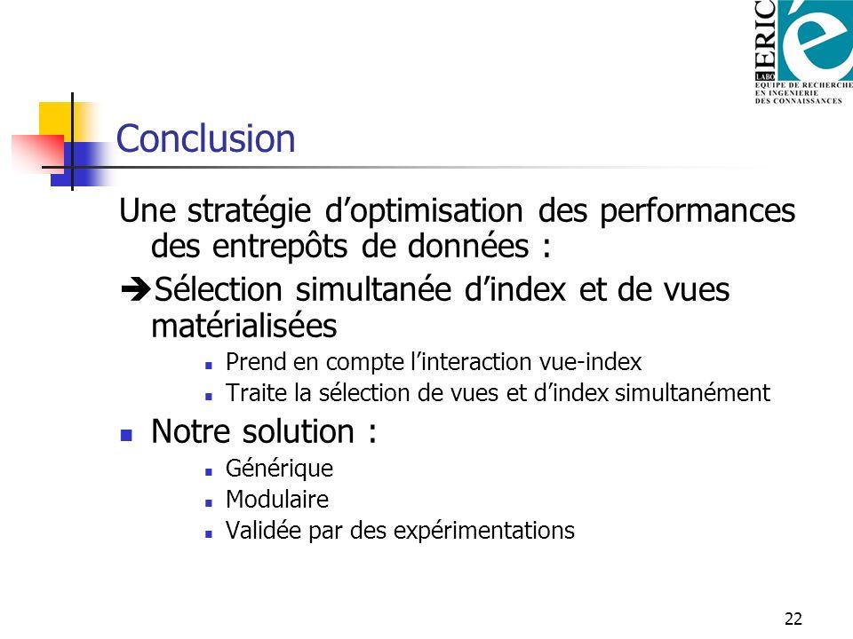 22 Conclusion Une stratégie doptimisation des performances des entrepôts de données : Sélection simultanée dindex et de vues matérialisées Prend en co