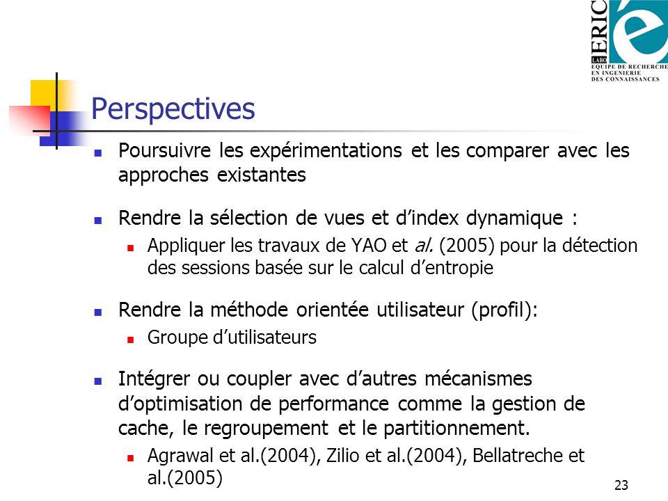 23 Perspectives Poursuivre les expérimentations et les comparer avec les approches existantes Rendre la sélection de vues et dindex dynamique : Appliq