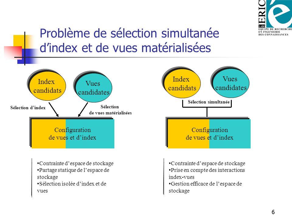 6 Problème de sélection simultanée dindex et de vues matérialisées Index candidats Vues candidates Sélection dindex Sélection de vues matérialisées Co