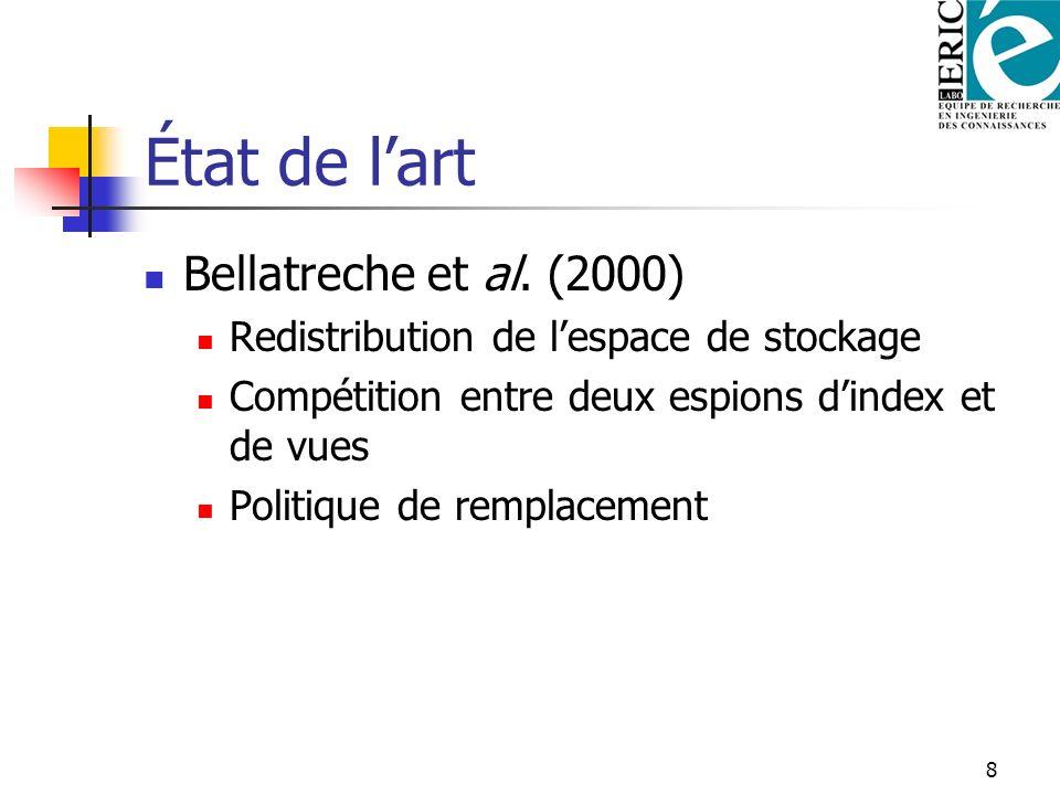 8 État de lart Bellatreche et al. (2000) Redistribution de lespace de stockage Compétition entre deux espions dindex et de vues Politique de remplacem