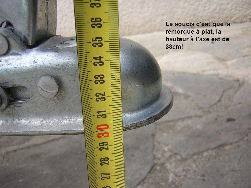 Le soucis cest que la remorque à plat, la hauteur à laxe est de 33cm!