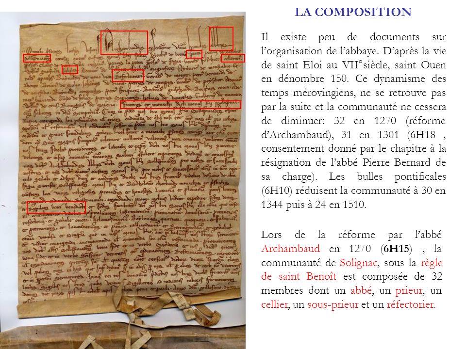 LA COMPOSITION Lors de la réforme par labbé Archambaud en 1270 (6H15), la communauté de Solignac, sous la règle de saint Benoît est composée de 32 mem