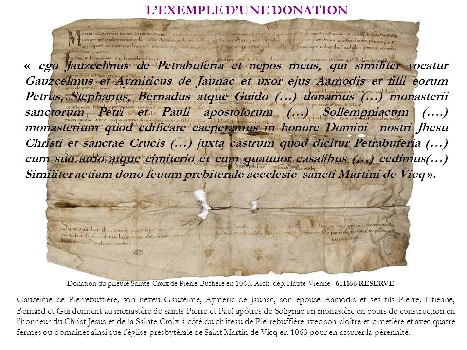 LEXEMPLE DUNE DONATION Donation du prieuré Sainte-Croix de Pierre-Buffière en 1063, Arch. dép. Haute-Vienne - 6H166 RESERVE Gaucelme de Pierrebuffière