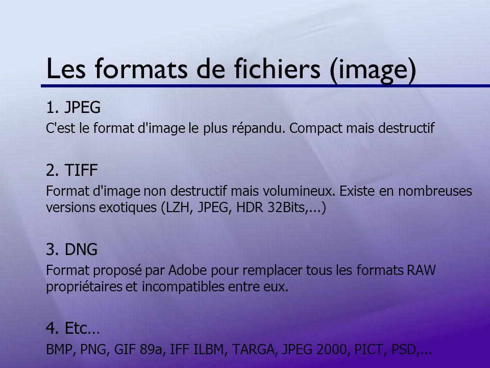 Les formats de fichiers (image) 1. JPEG C'est le format d'image le plus répandu. Compact mais destructif 2. TIFF Format d'image non destructif mais vo