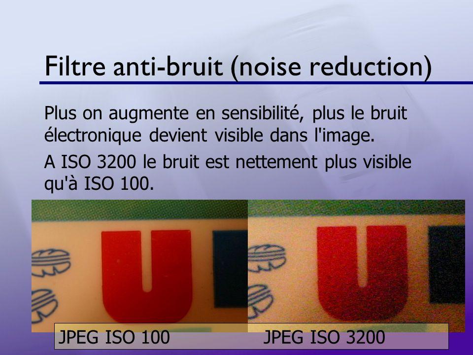 Filtre anti-bruit (noise reduction) Plus on augmente en sensibilité, plus le bruit électronique devient visible dans l'image. A ISO 3200 le bruit est