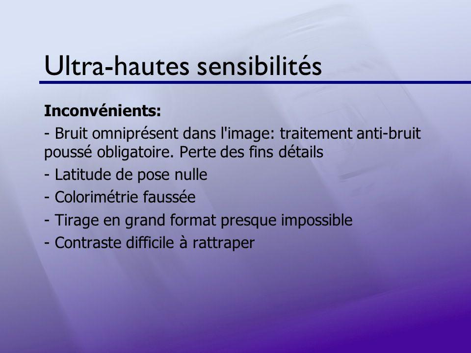 Ultra-hautes sensibilités Inconvénients: - Bruit omniprésent dans l'image: traitement anti-bruit poussé obligatoire. Perte des fins détails - Latitude