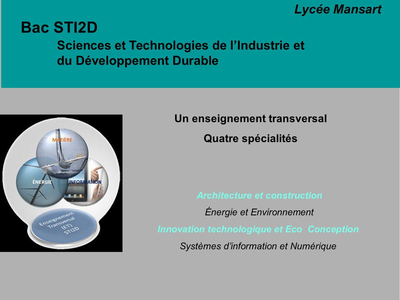 Bac STI2D Sciences et Technologies de lIndustrie et du Développement Durable Une approche pluridisciplinaire Lycée Mansart