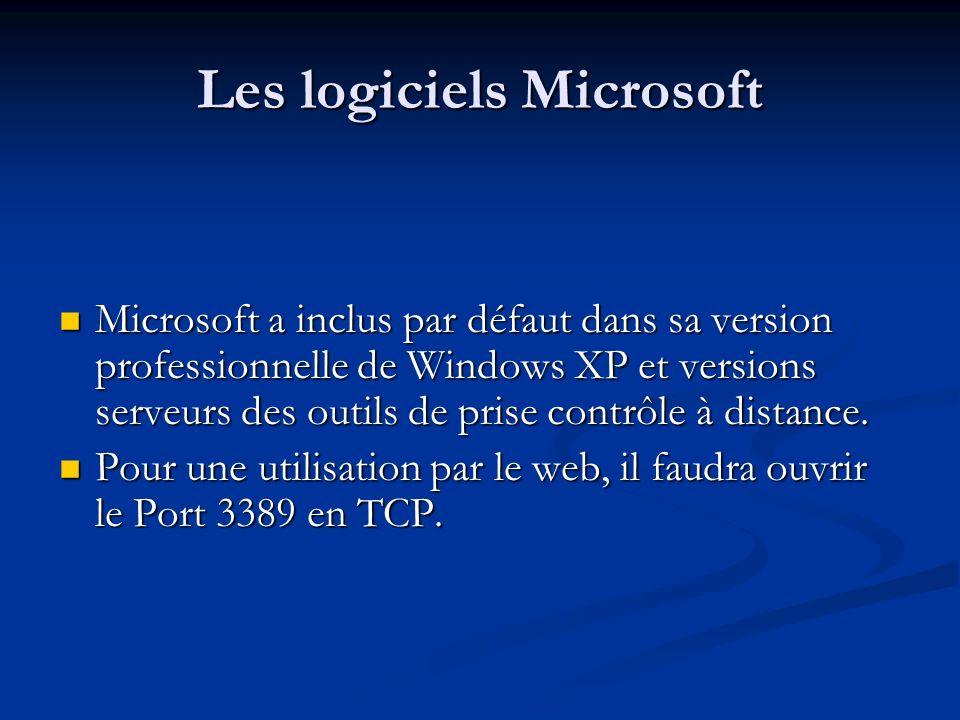 Les logiciels Microsoft Microsoft a inclus par défaut dans sa version professionnelle de Windows XP et versions serveurs des outils de prise contrôle